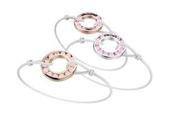 Bracelet or cordon quartz rose 490 €