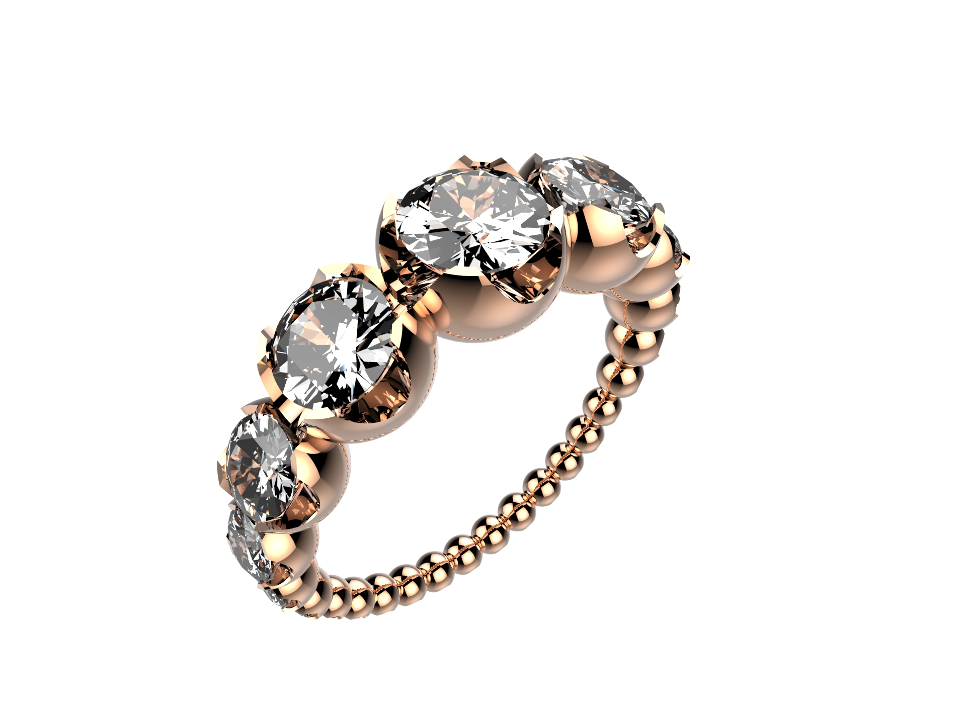 Solitaire or rose diamants - 8110 €