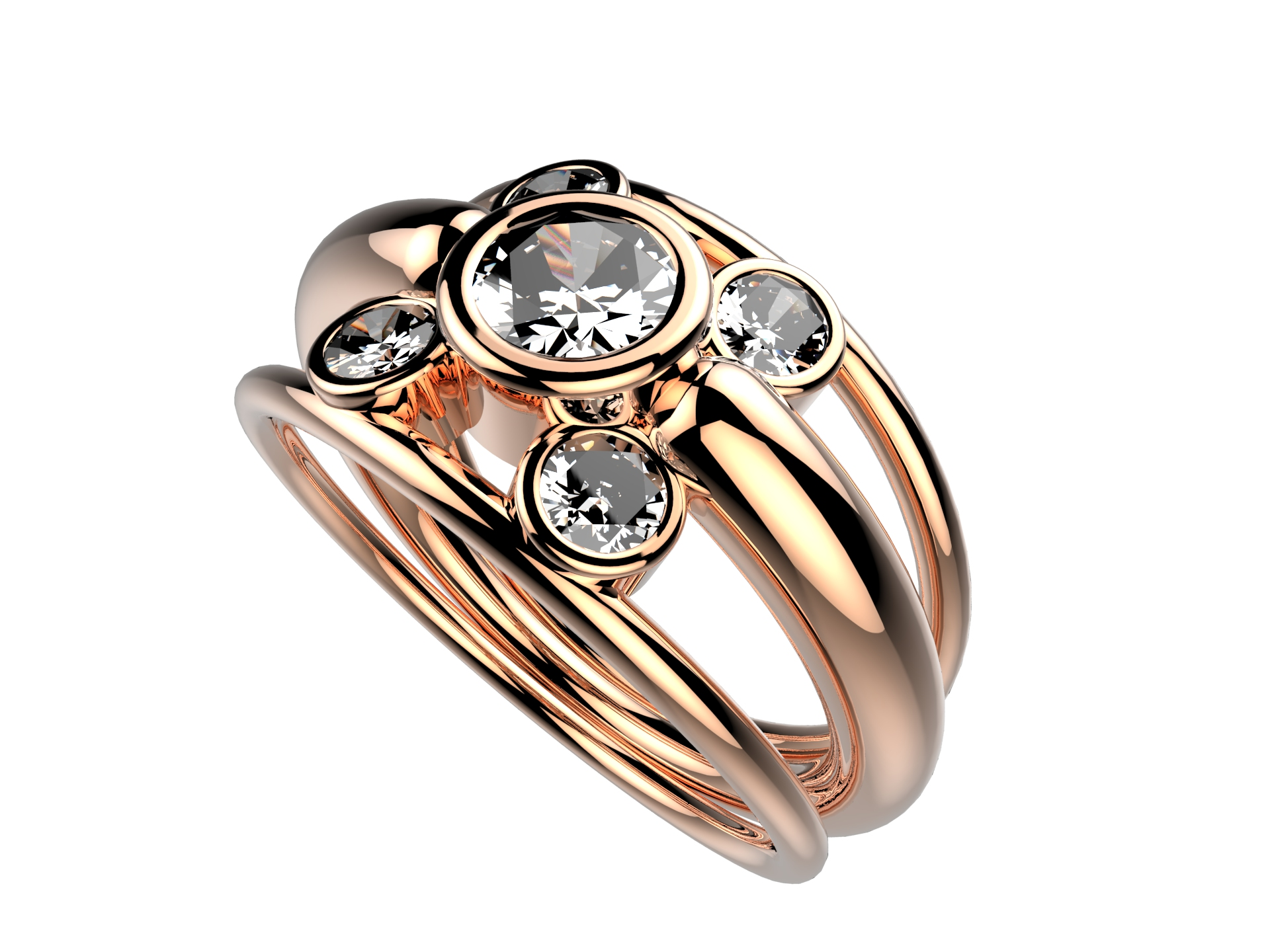 Solitaire or rose diamants - 5150 €
