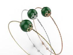 Bracelet or perle agate verte 330 €