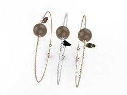 Bracelet or perle quartz fumé 305 €