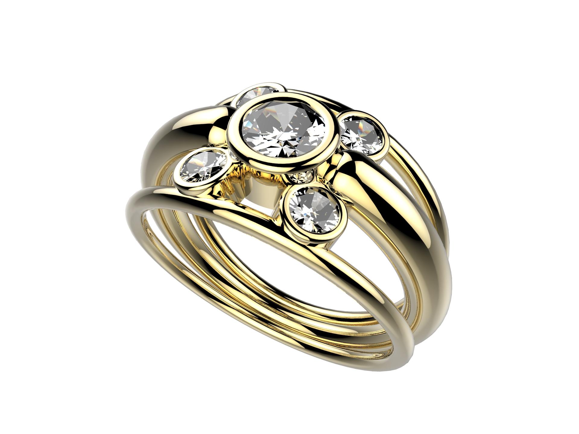 Solitaire or jaune diamants - 5150 €