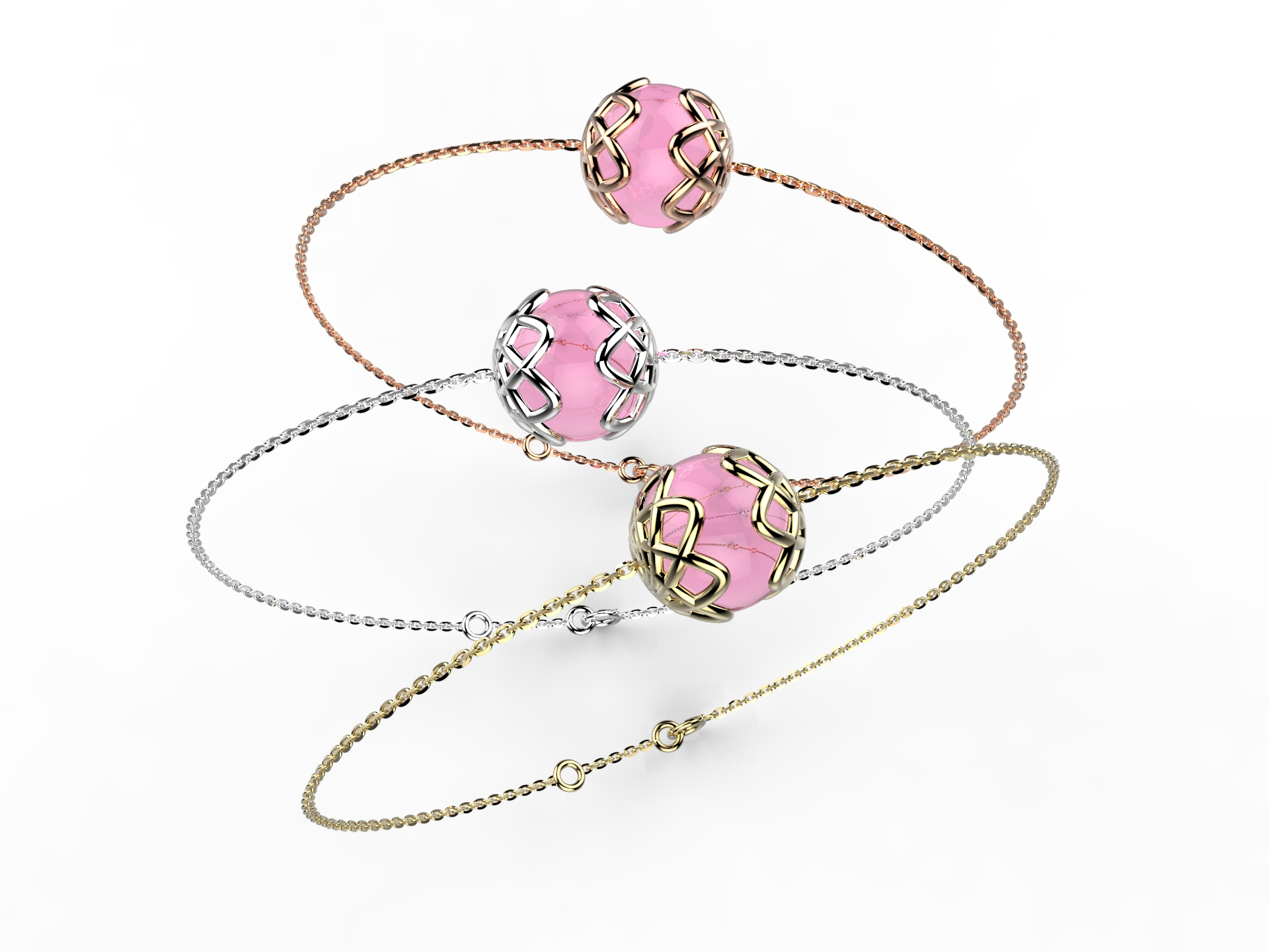 Bracelet or perle quartz rose 340 €