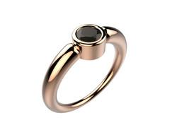 Bague or rose diamant noir 1860 €