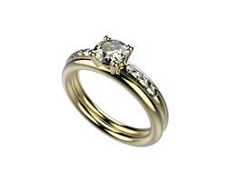 Solitaire or jaune diamant - 3740 €