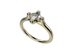 Solitaire or jaune diamants - 3910 €