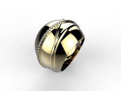 Bague boule or jaune diam - 3280 €