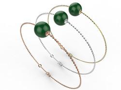 Bracelet or perle agate verte 280 €