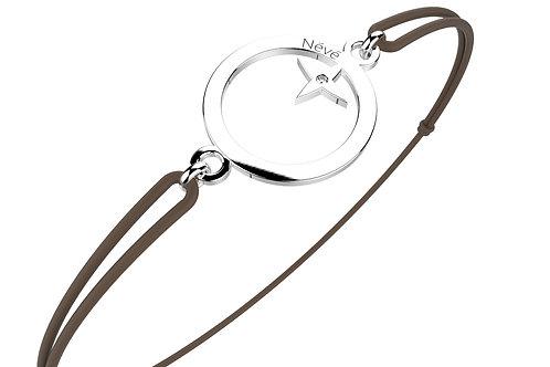 """Bracelet Névé """"Cercle étoilé"""" en Or avec Diamant et Cordon Taupe"""