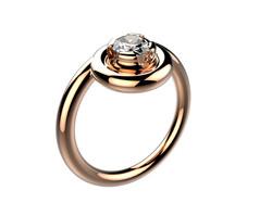 Solitaire or rose diamant - 3900 €
