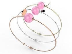 Bracelet or perle quartz rose 305 €