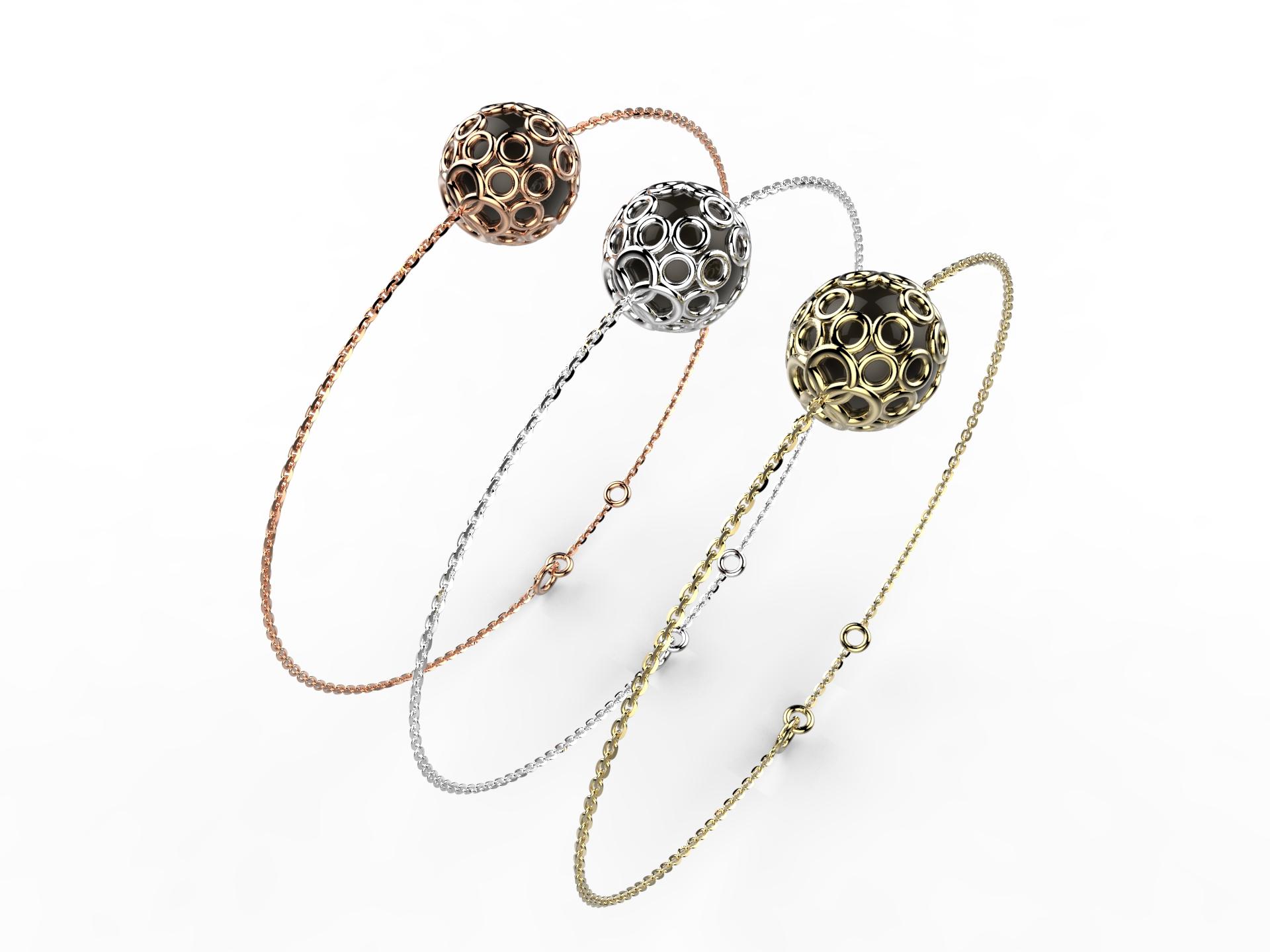 Bracelet or perle agate noire 350 €