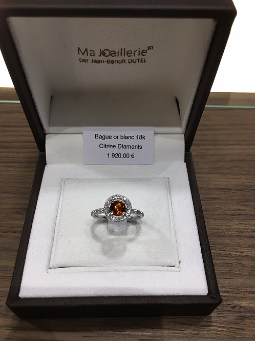 Bague Or blanc Citrine et Diamants