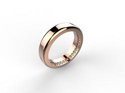Alliance or rose diamants 1650 €