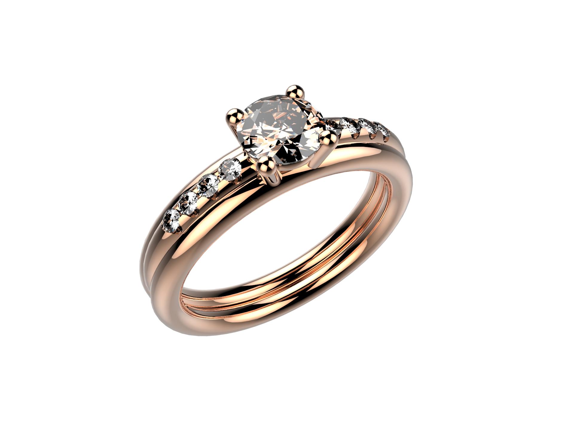 Solitaire or rose diamant - 3740 €