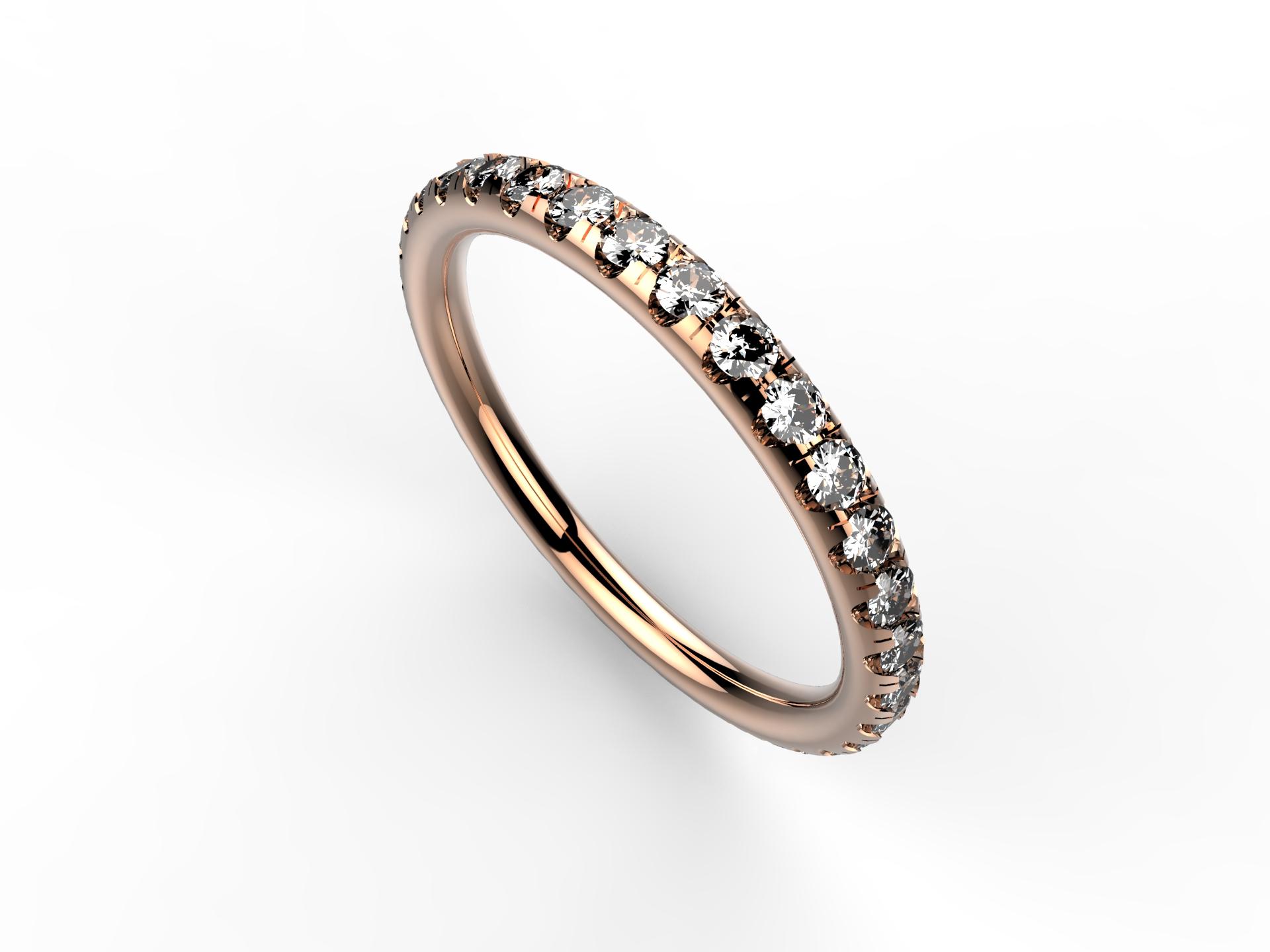 Alliance or rose et diamants 1650 €