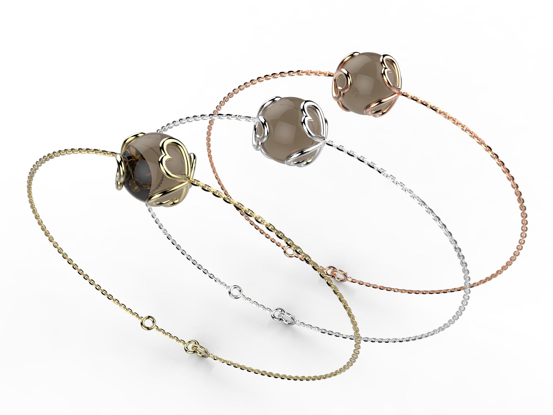 Bracelet or perle quartz fumé 330 €