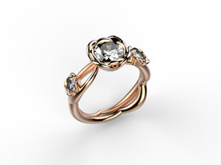 Solitaire or rose diamant - 9840 €