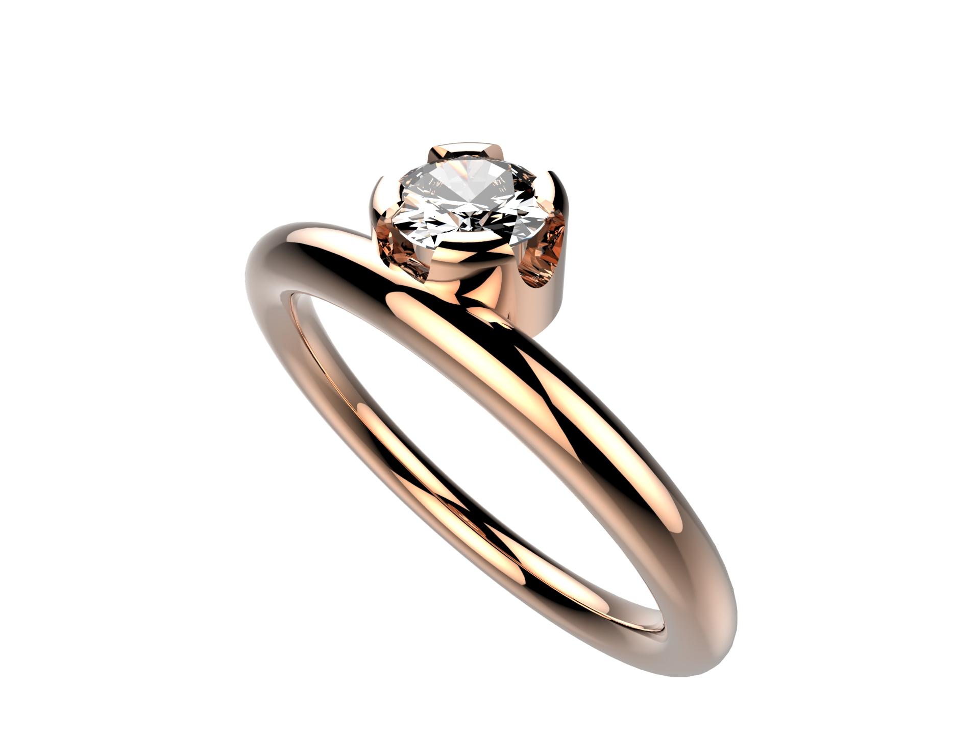 Solitaire or rose diamant - 3860 €