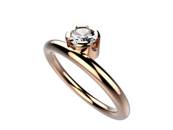 Solitaire or rose diamant - 3860 €