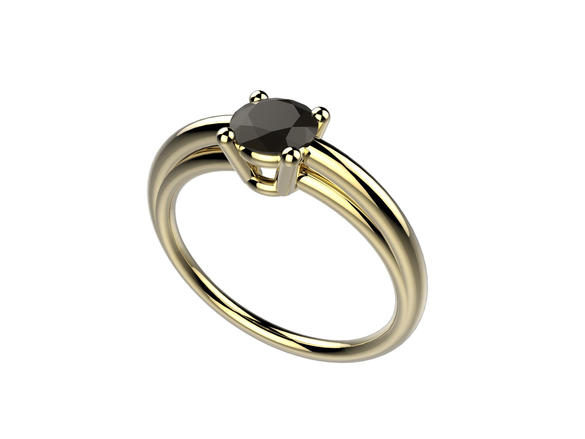 Bague or jaune diamant noir 1830 €