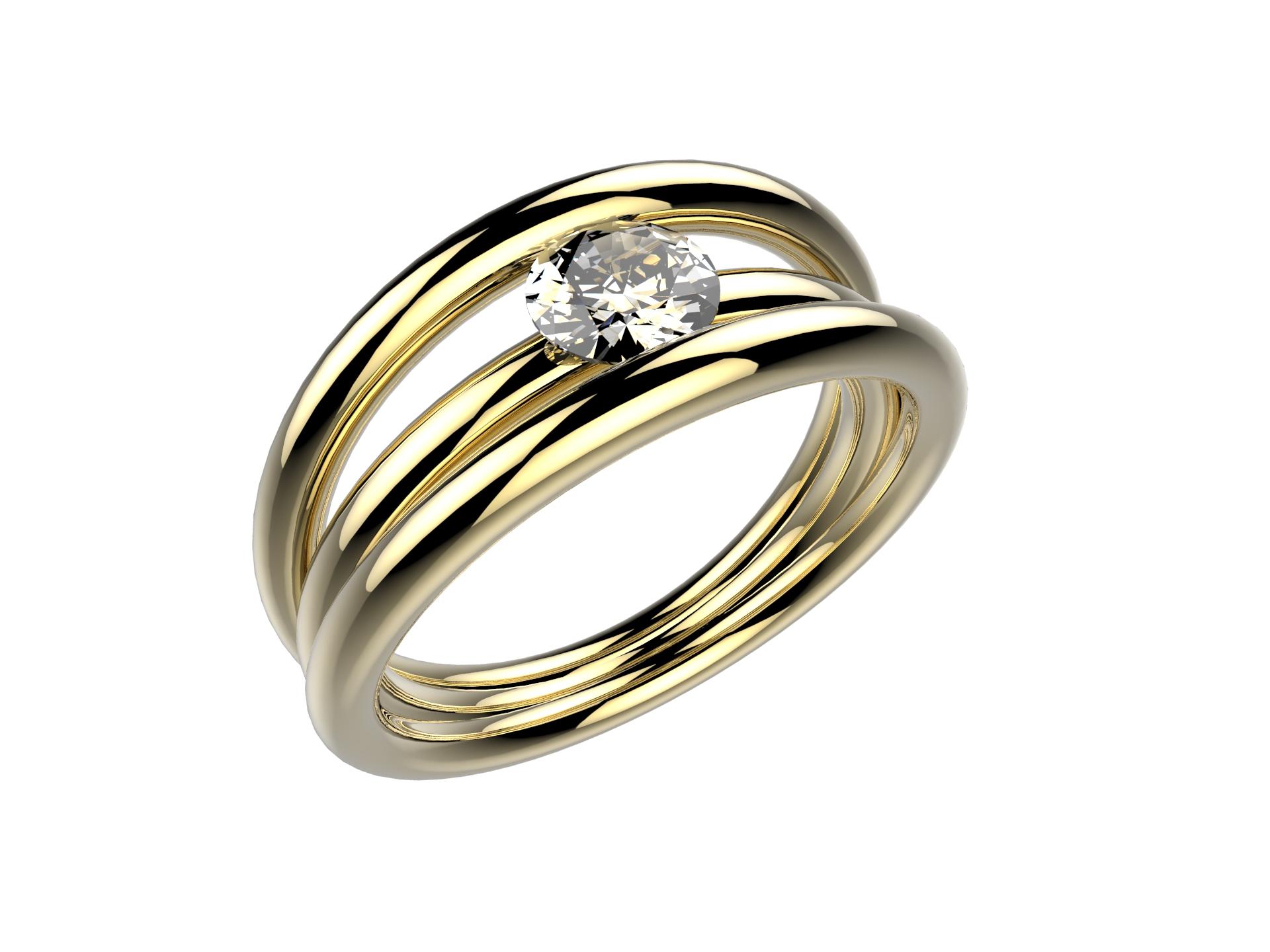 Solitaire or jaune diamant - 3990 €