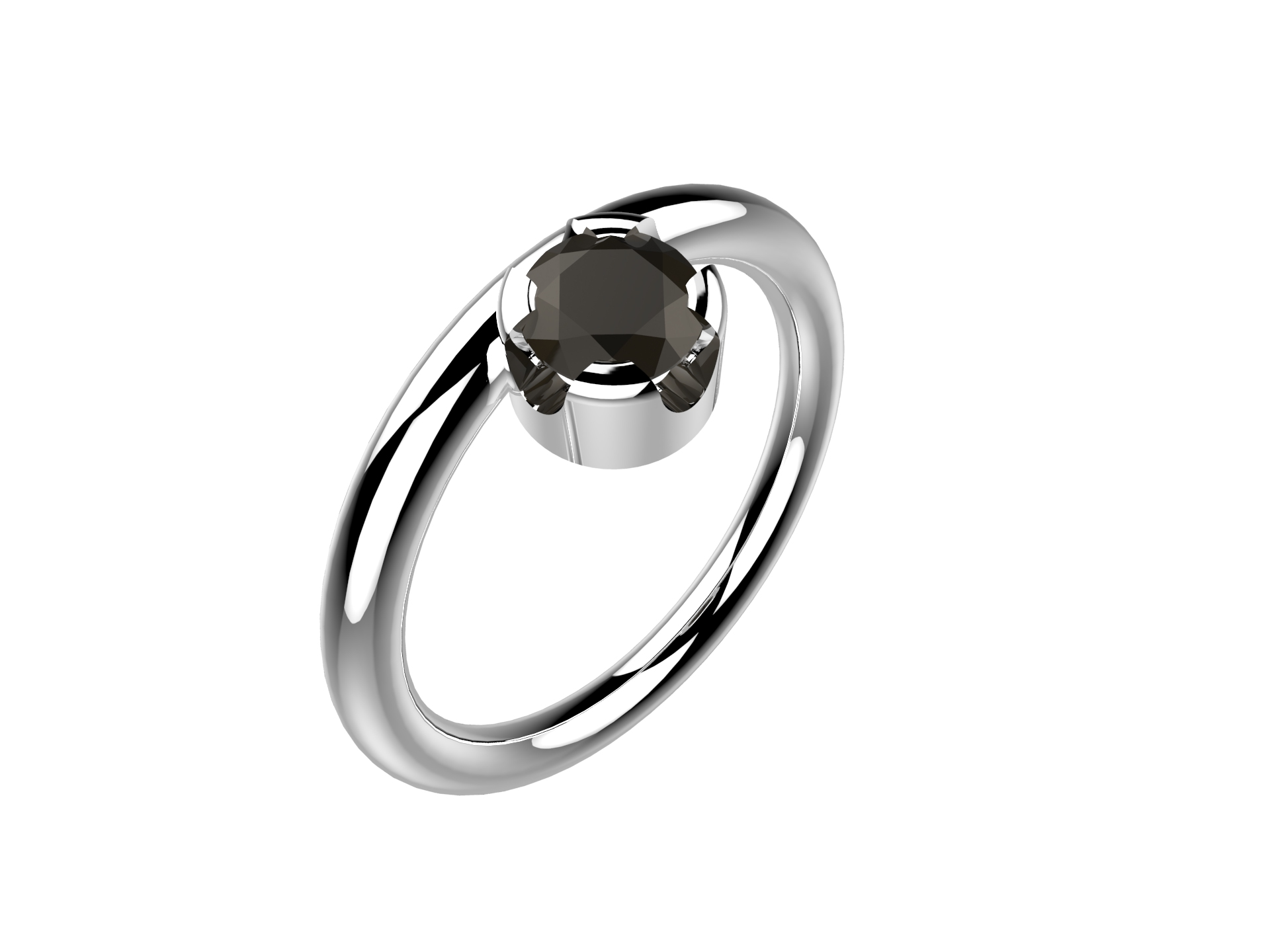 Bague or blanc diamant noir 1920 €