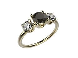 Bague or jaune diamant noir 3060 €