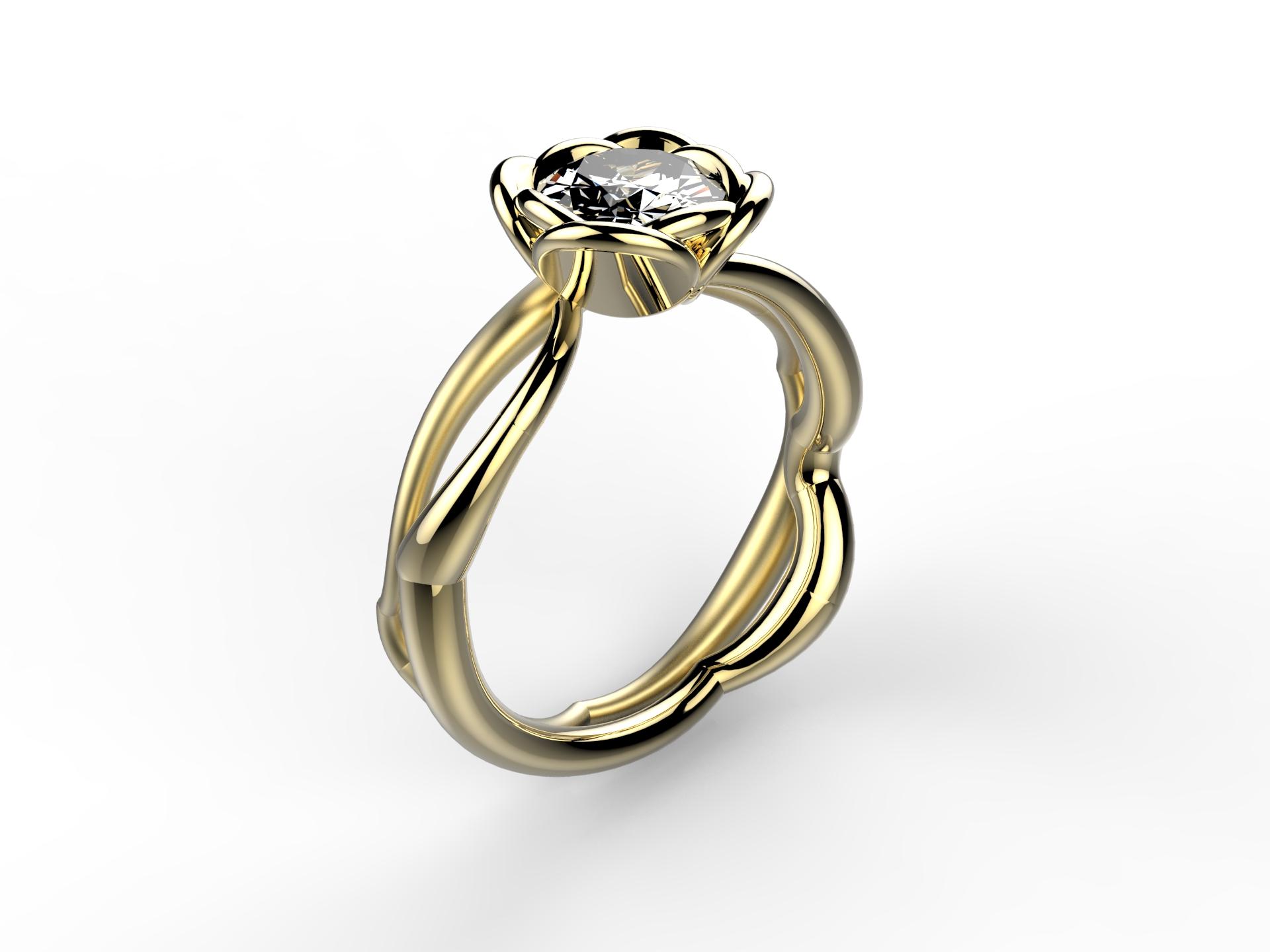 Solitaire or jaune diamant - 9120 €