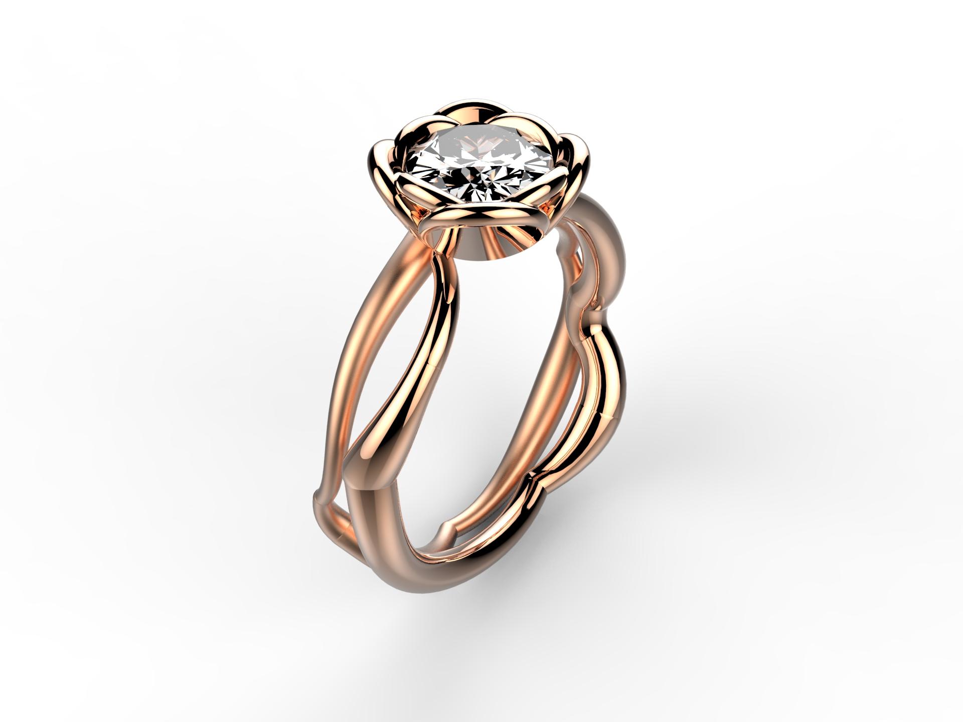 Solitaire or rose diamant - 9120 €
