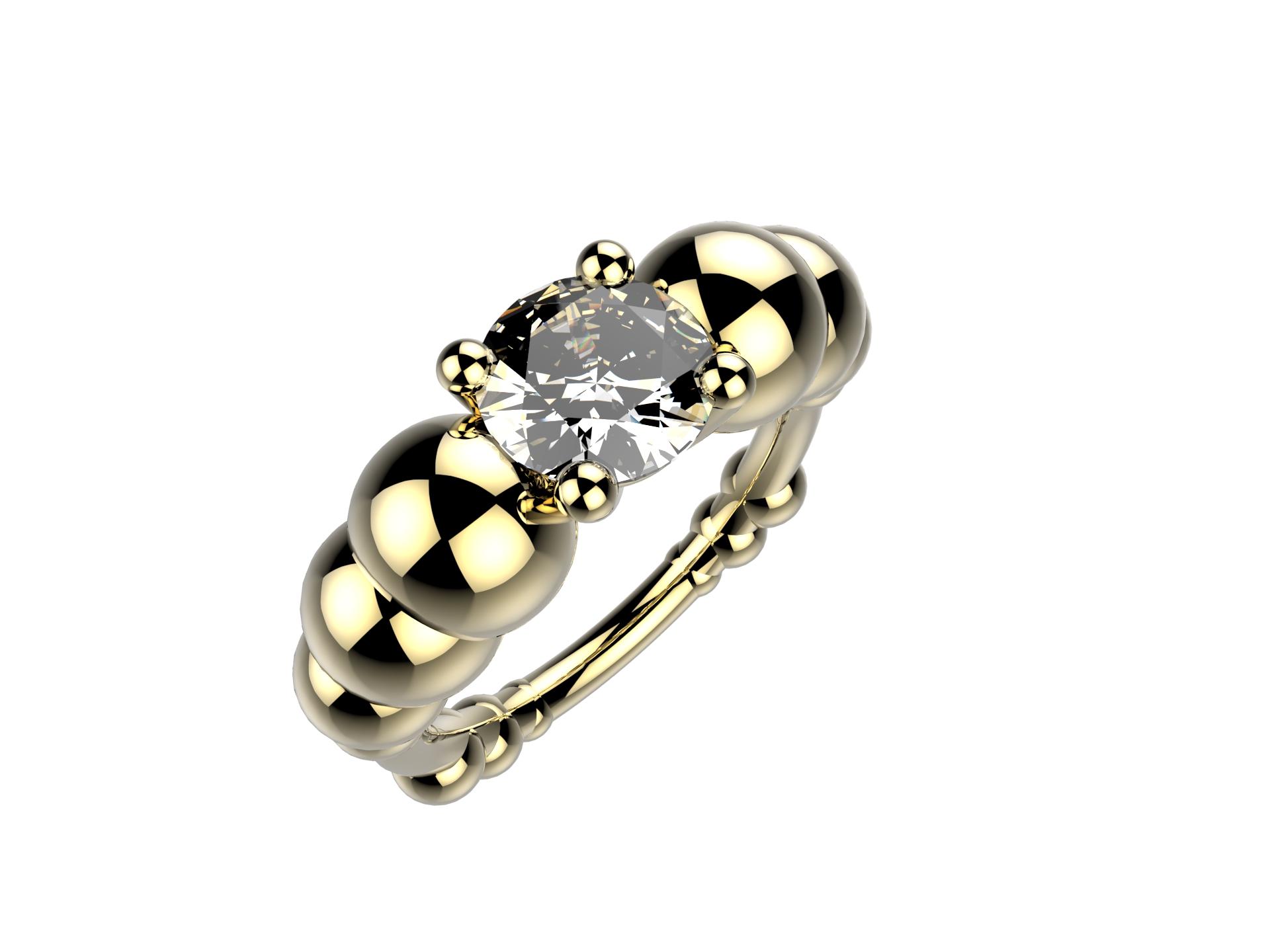 Solitaire or jaune diamant - 11620 €