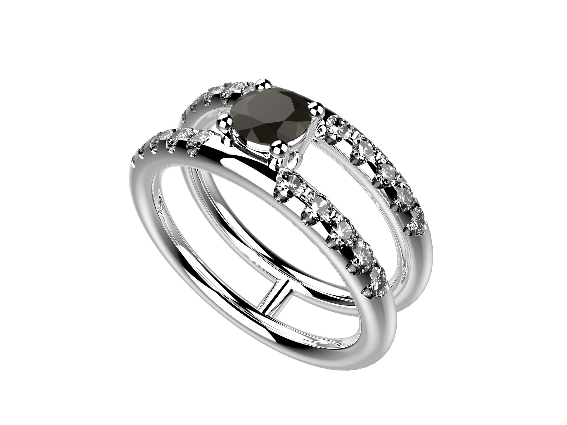 Bague or blanc diamant noir 3550 €