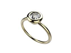 Solitaire or jaune diamant - 3780 €