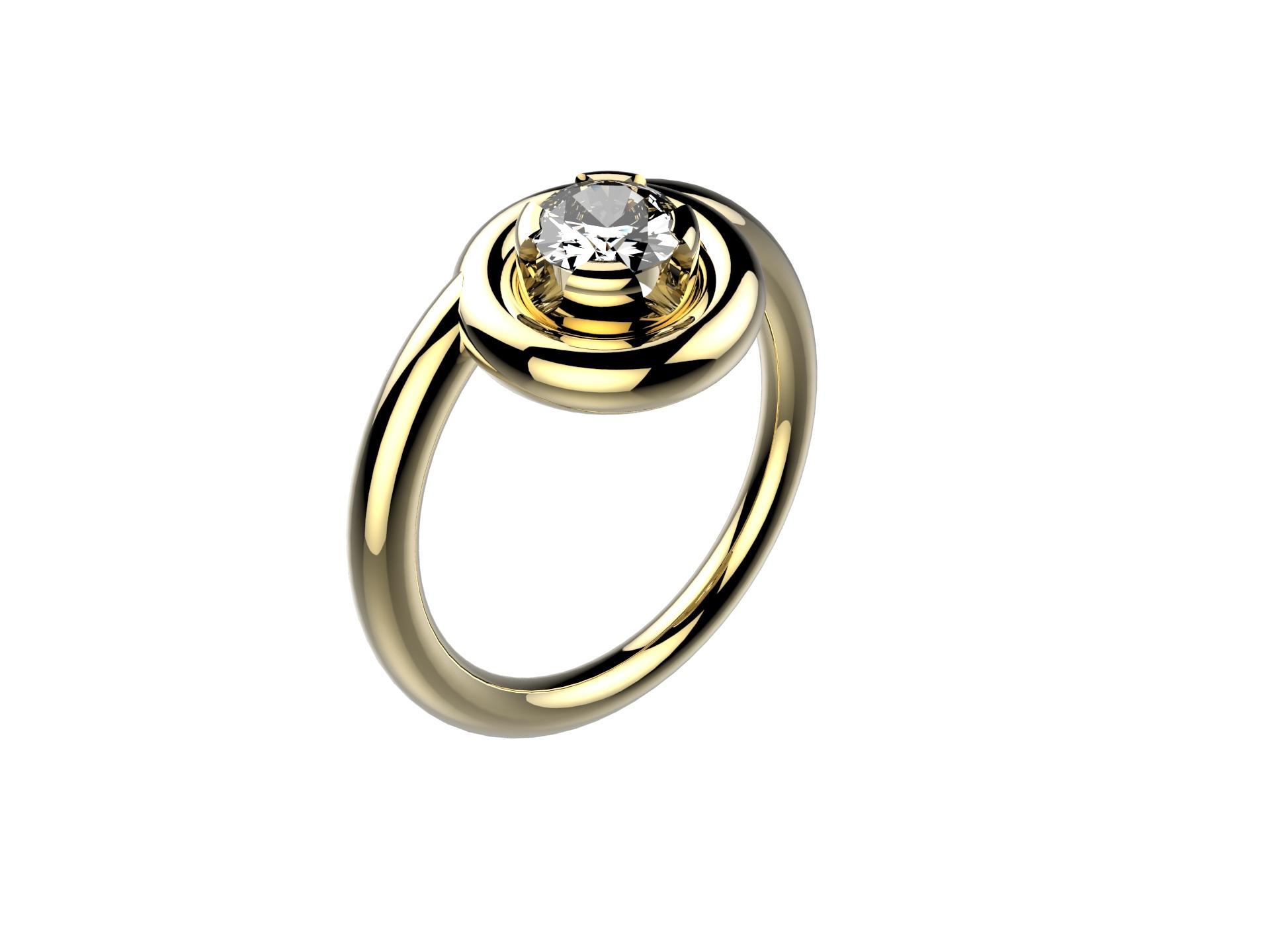 Solitaire or jaune diamant - 3900 €