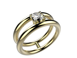 Solitaire or jaune diamant - 4240 €