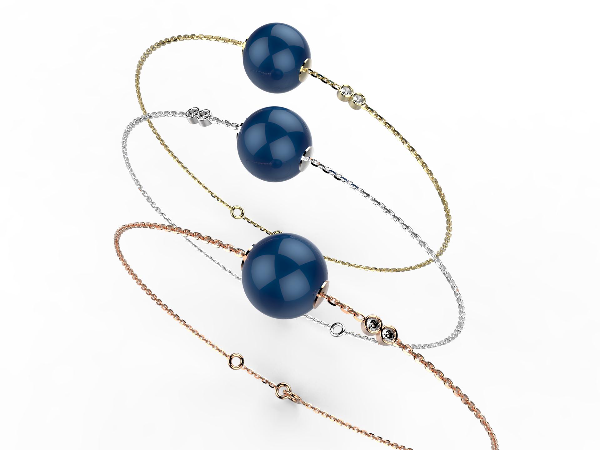 Bracelet or perle agate bleue 360 €