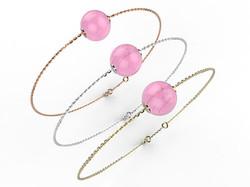 Bracelet or perle quartz rose 280 €