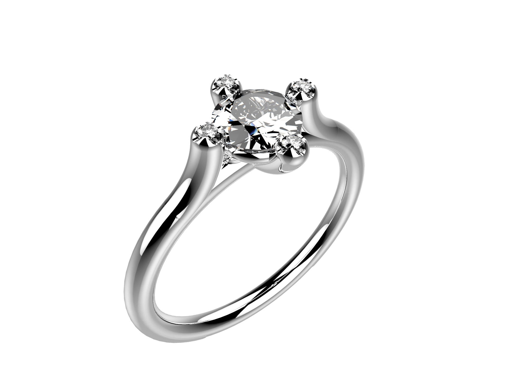 Solitaire or blanc diamants - 3910 €