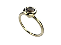Bague or jaune quartz fumé 870 €