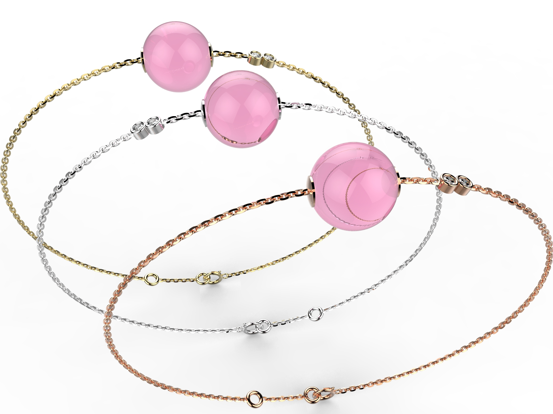 Bracelet or perle quartz rose 360 €