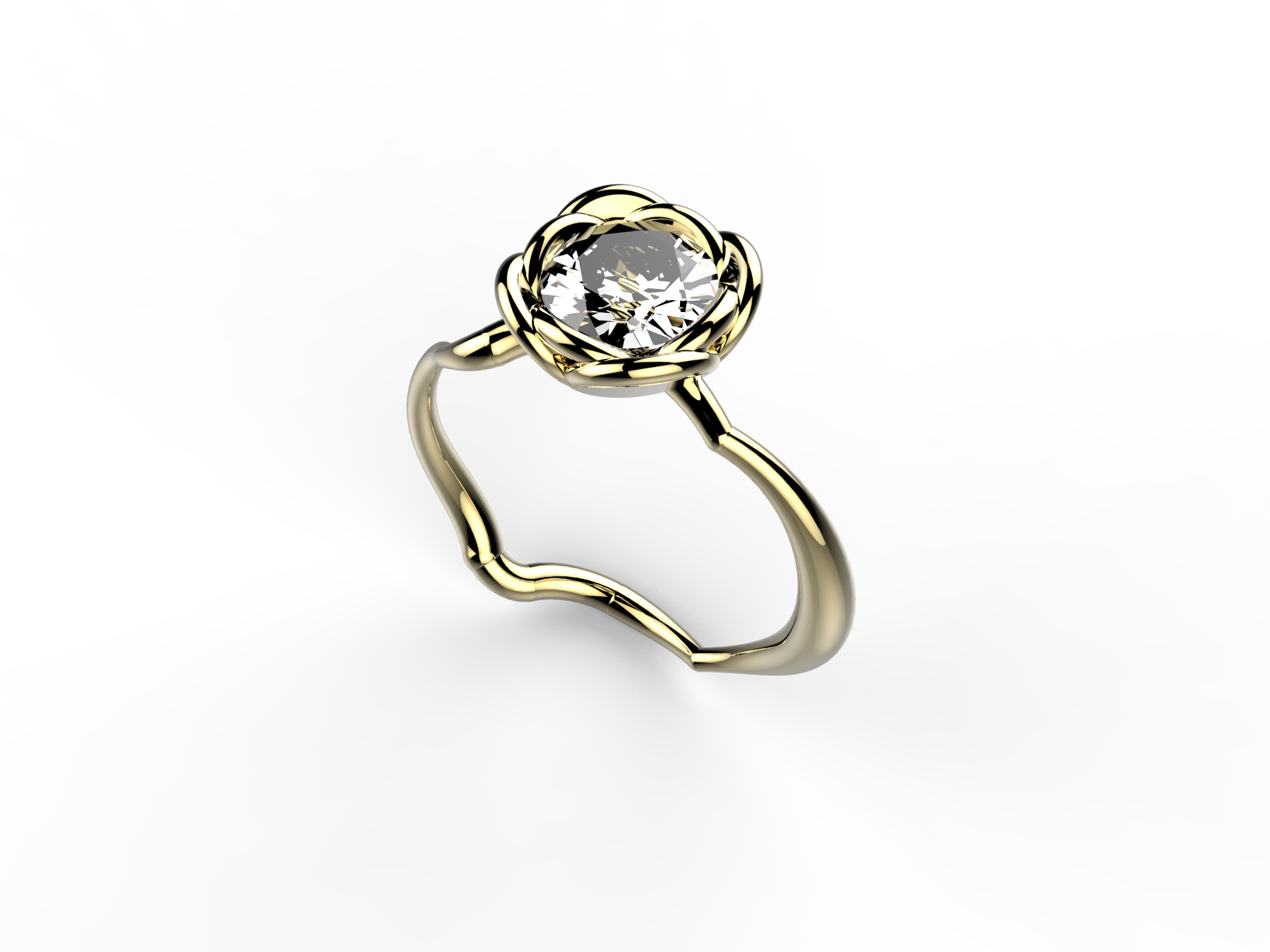 Solitaire or jaune diamant - 8700 €