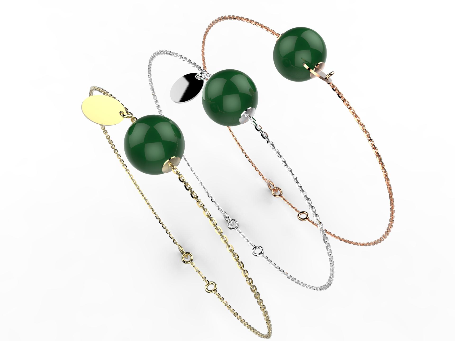 Bracelet or perle agate verte 305 €