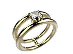 Solitaire or jaune diamant - 4240 €