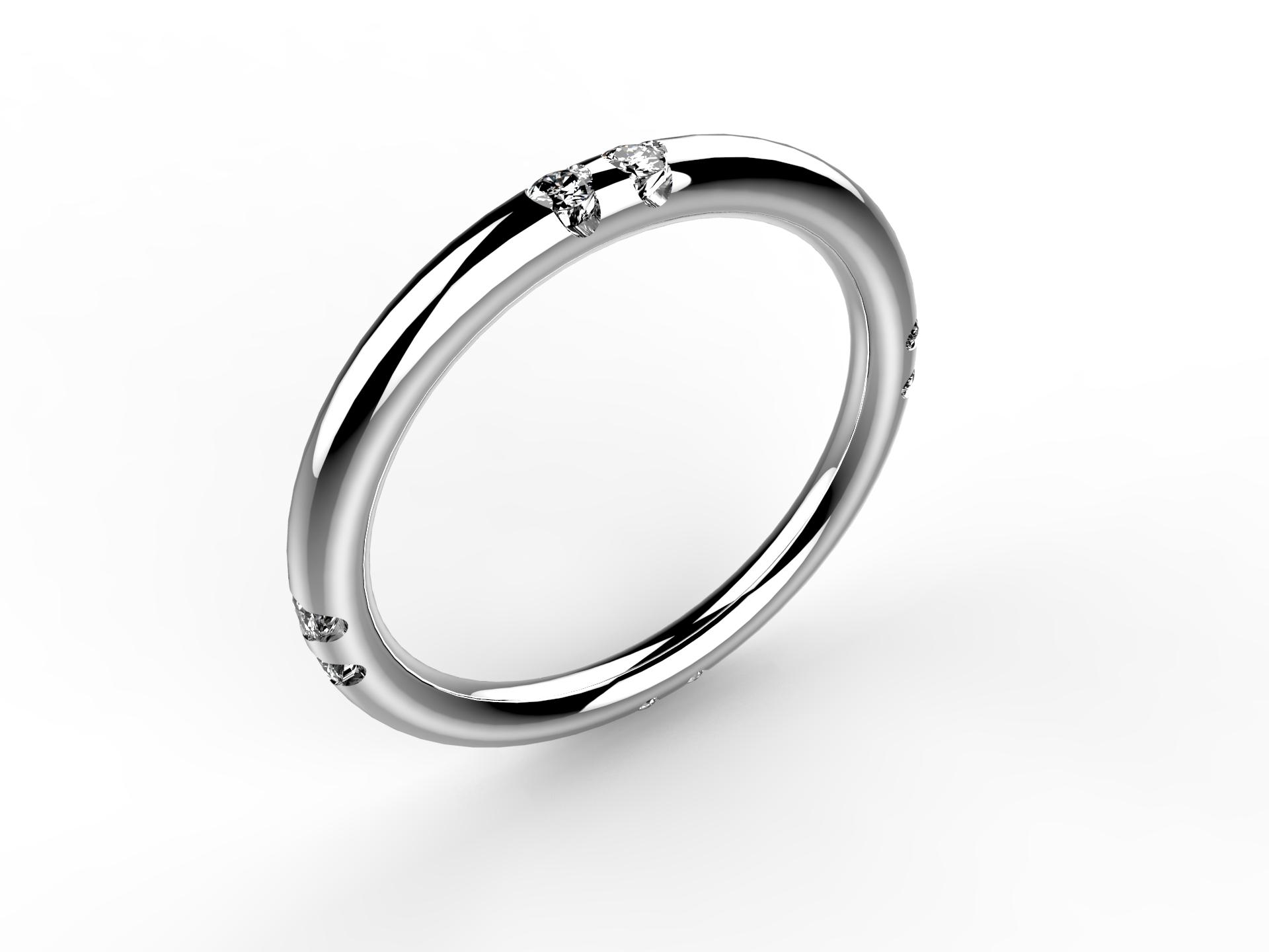 Alliance or blanc et diamants 890 €