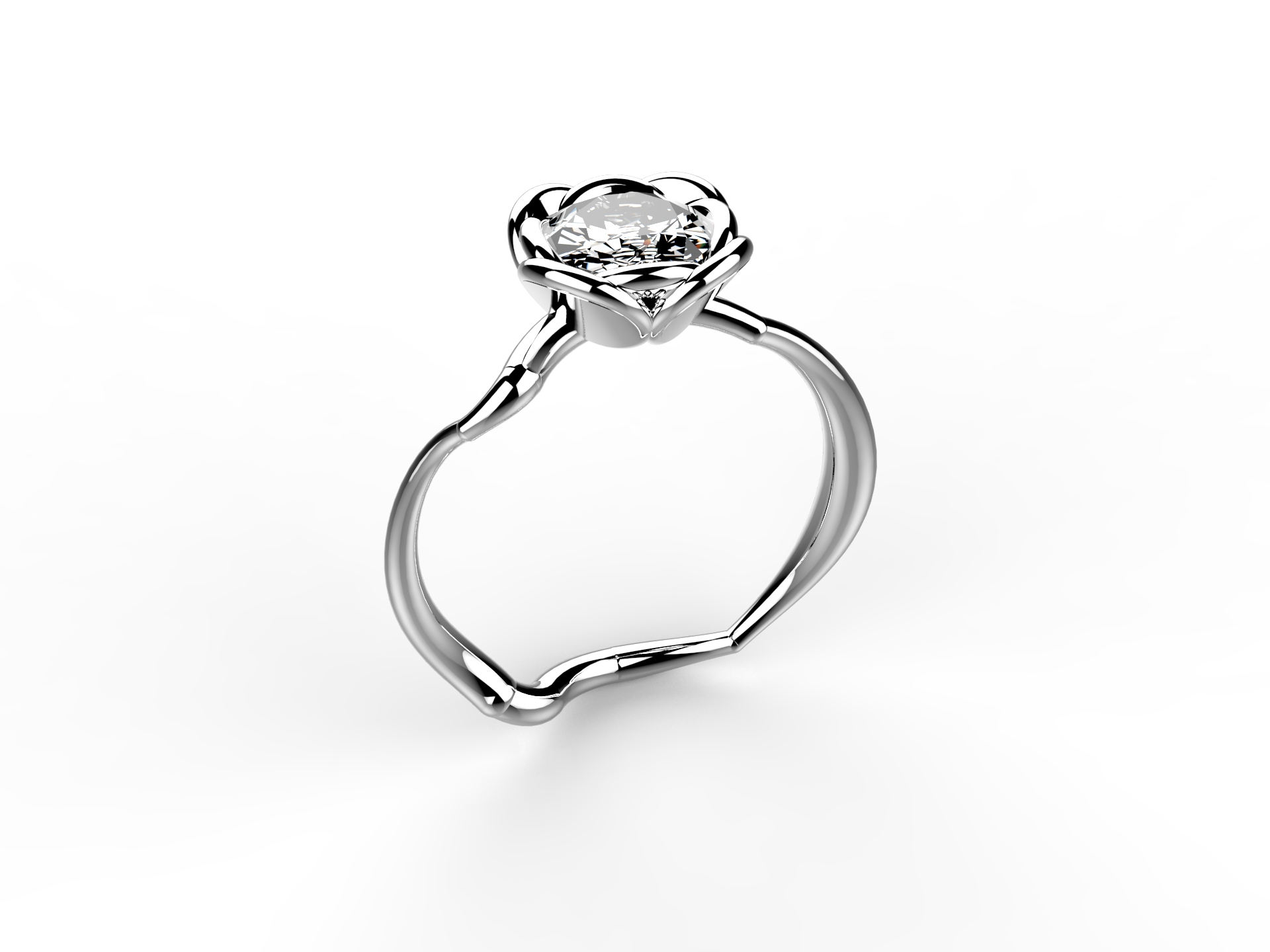 Solitaire or blanc diamant - 8700 €