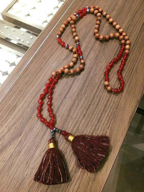 Collier Balinais Bois de Santal et Agates