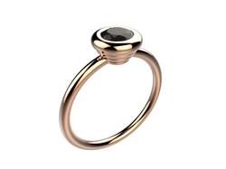 Bague or rose diamant noir 1740 €