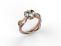 Solitaire or rose diamant - 9840 €