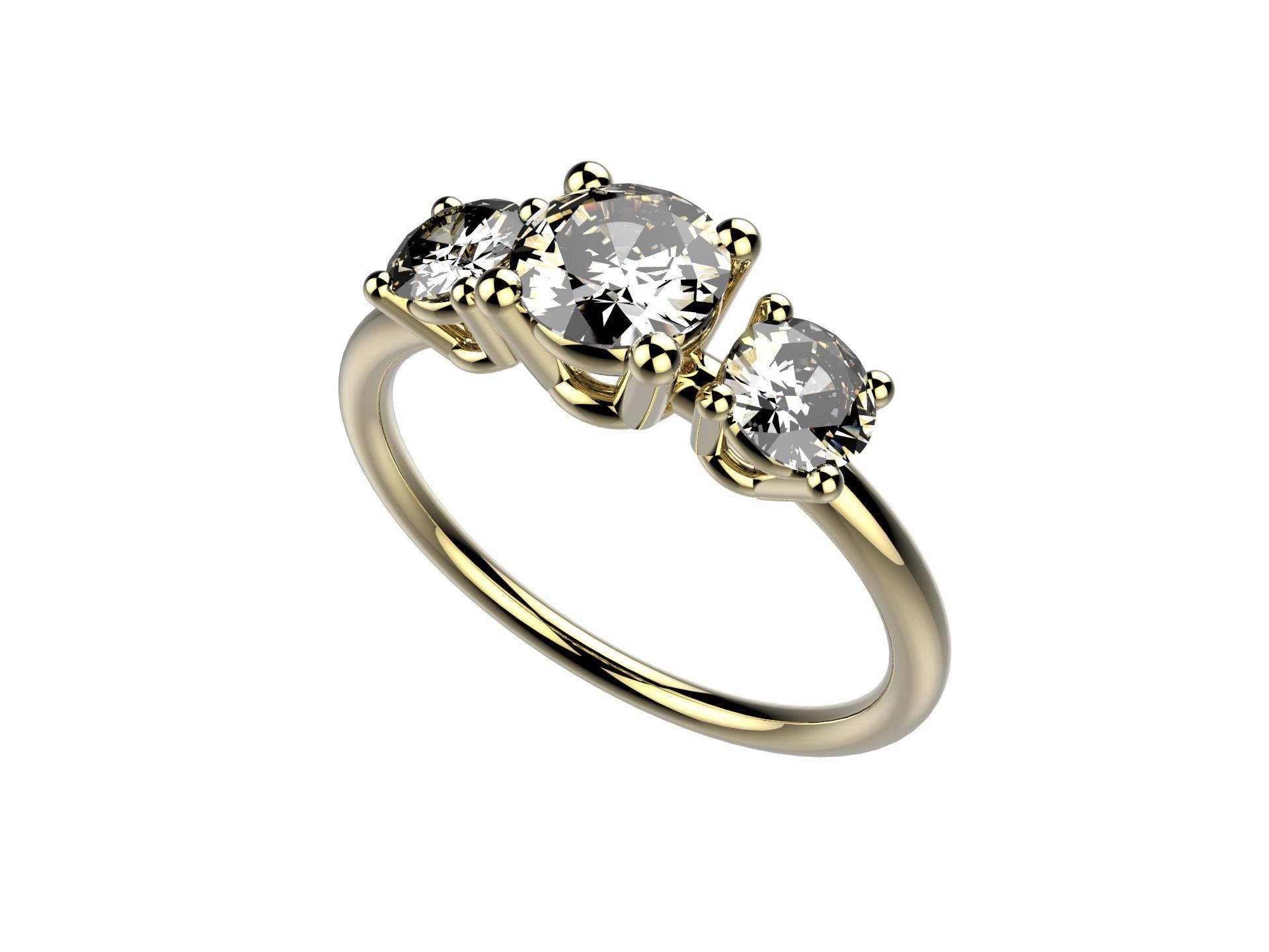 Solitaire or jaune diamants - 4780 €