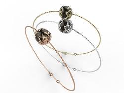 Bracelet or perle agate noire 340 €